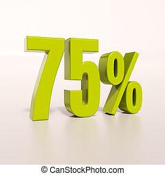 Percentage sign, 75 percent - 3d render: green 75 percent,...