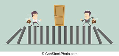 Businessman running to door vector
