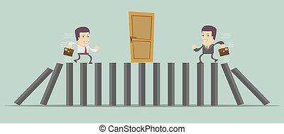 Businessman running to door vector - Businessman running to...