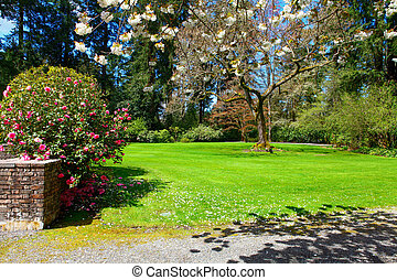 Path in a Garden - Path in a Peaceful Landscape Garden