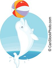 Beluga playing a ball - Vector illustration of a white...