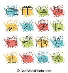 Celebration icons with color spray spots vector