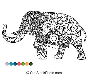 Elephant mandala ornament with colors samples - Elephant...