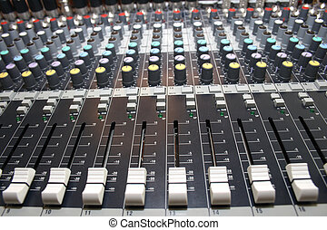 mixing desk  - On a photo mixing desk. Close up photos.