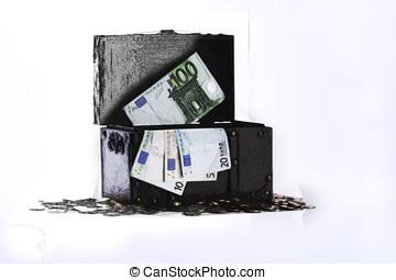 Truhe gemalt mit euro geldscheine