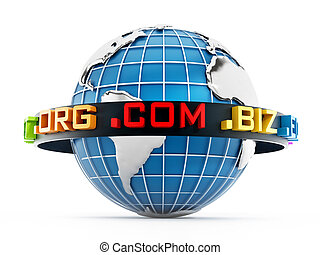 Domain extensions around the blue globe. 3D illustration
