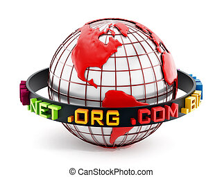 Domain extensions around the red globe. 3D illustration