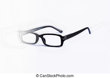 Brille in schwarz gezeichnet und skizze freigestellt
