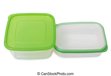 Two food containers - Plastic food containers on a white...