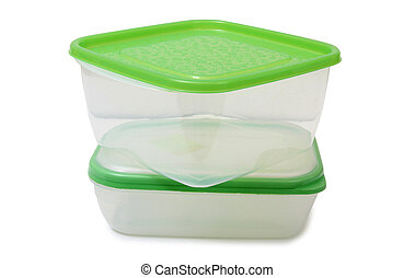 Two plastic food containers - Plastic food containers on a...