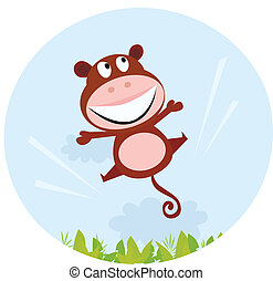 Jumping african cute monkey - Cute brown monkey jump in the...