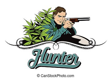 People in retro style The hunter in an ambush - People in...