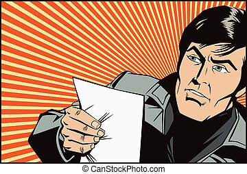 People in retro style. An man reads the documents. News, and...