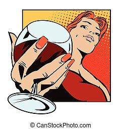 People in retro style. Girl with a glass of wine.