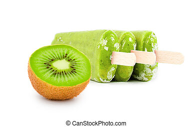 Kiwi Ice Cream - Photo of kiwi ice creams with fresh fruit...