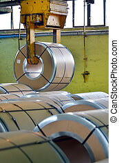 Steel coil in warehouse