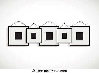 Blank picture frame hanging on wall - Vector EPS 10 format.