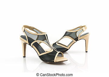 Black high heel women shoes.