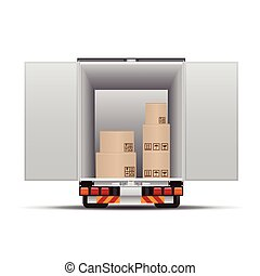 Delivery truck with boxes