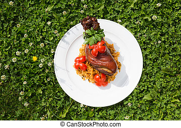 German traditional dish, Knuckle on a white plate