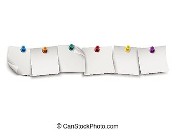 Blank white note paper - White note paper with push colored...
