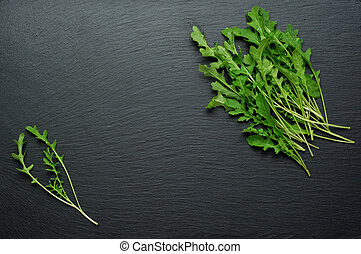 Fresh juicy arugula on a black background.