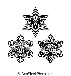 Snowflakes. Abstract Design Elements. Optical Art. Vector...