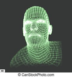 Head of the Person from a 3d Grid. 3D Geometric Face Design....