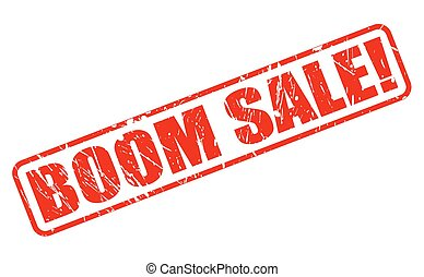 BOOM SALE RED STAMP TEXT ON WHITE