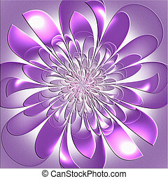 Beautiful lush fractal flower with embossed effect. Artwork...