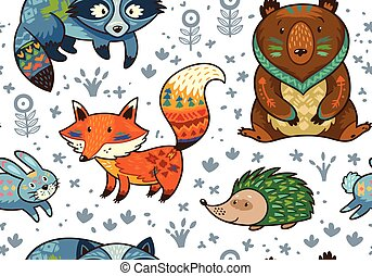Woodland annimals seamless pattern - Woodland friends forest...