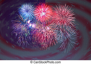 Fireworks and American flag background