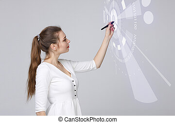 Future technology Woman working with futuristic interface -...