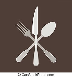 Fork, Spoon and knife, flat design