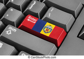 Enter button with Flag of Bucharest