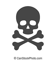 Skull and Crossbones Icon on White Background Vector...