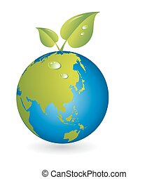 New life, leaf with world map globe