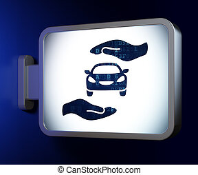 Insurance concept: Car And Palm on billboard background -...