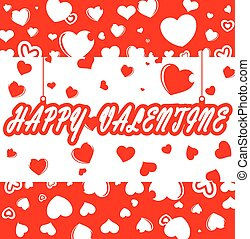happy valentine day card - hearts pattern and happy...