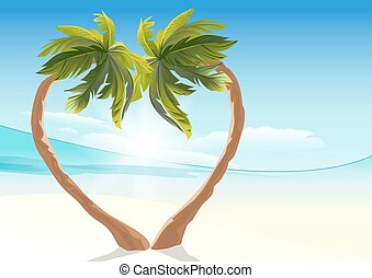 Two tropical palm Heart symbol love