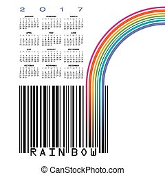 2017 UPC barcode calendar with a rainbow and space for your type