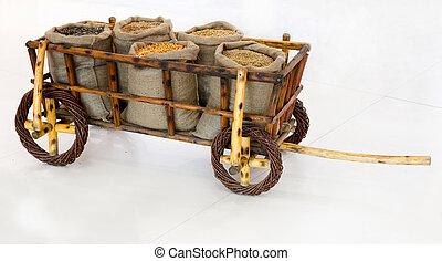 brouette, à, grains, dans, sacs,