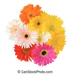 bouquet of gerbera flowers - Low poly illustration bouquet...