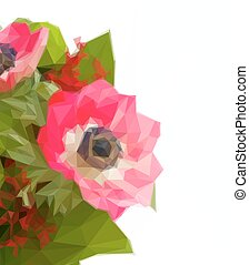 red anemone with green leaves - Low poly illustration red...