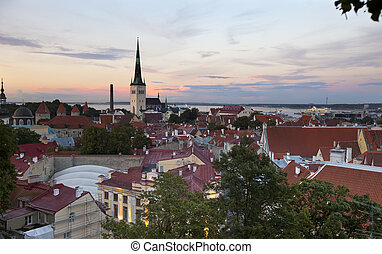 Old citys roofs in evining Tallin - View of Old citys roofs...
