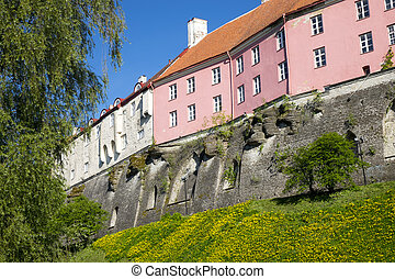 Toompea hill. Old city, Tallinn, Es - View of houses on the...