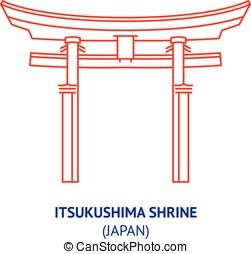 Itsukushima shrine, Japan, vector - Itsukushima shrine,...