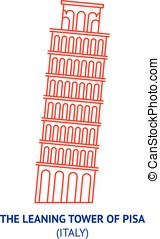 Leaning Tower of Pisa in Italy, thin vector icon