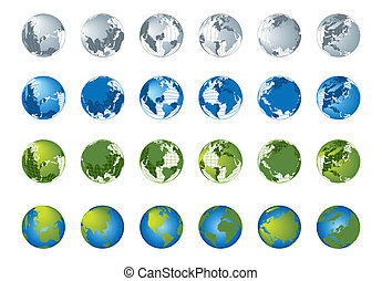World map, 3D globe series