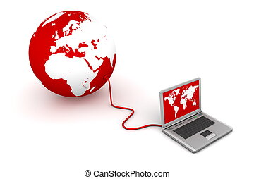 Connected to the Red World - laptop wired to a red 3D globe...